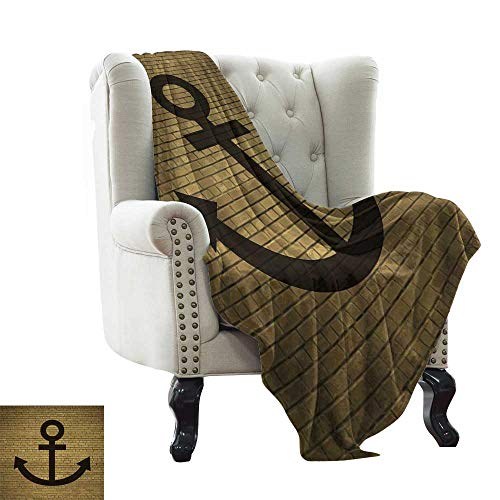 LsWOW Wearable Blanket Anchor,Digital Anchor Icon Over Brick Wall Vintage Vessel Part Hook Up The Boat Theme,Tortilla Brown Reversible Soft Fabric for Couch Sofa Easy Care 60