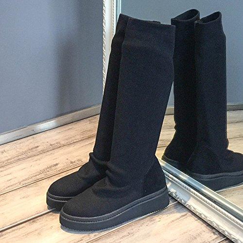 Couleur Chaussettes Femmes Stretch Bottes Pour Laine Hautes Longues Semelles Automne Shoeshaoge Unie Épaisses Chaussures Hiver qORSB