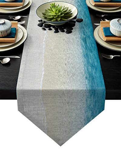 Cotton Linen Table Runner Beach Clear Sea 13x90 Inch Burlap Table Runners for Party Wedding Dining Farmhouse Outdoor Picnics Table Top Decor- Sand Ocean