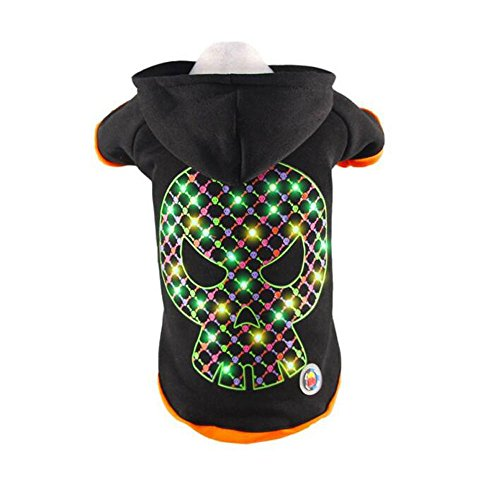 Led Dog Costume Clothes Holiday Light up Mask Christmas Hoodie Coat For Cat Pets -