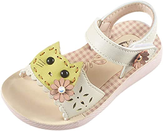 Toddler Kids Newborn Baby Girls Sandals Summer Floral Open Toe Slippers Boots Mary Jane Rubber Sole Crib Shoes