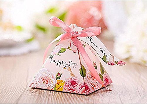Gdeal Floral Pyramid Wedding Gift Boxes Paper Candy Boxes Sweet Party Favour Decorative Treats Boxes with Ribbon & Tags Pack of 50 (Pink) (Sweet Box Candy)