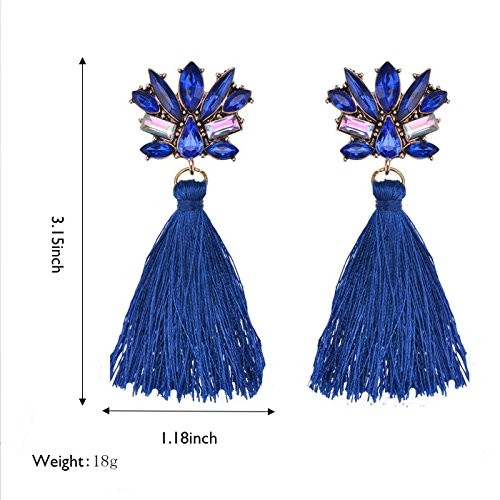 Women's Bohemian Statement Crystal Dangle Stud Earrings, Long Drop Tassel Earrings (Deep (Weiss Blue Rhinestone)