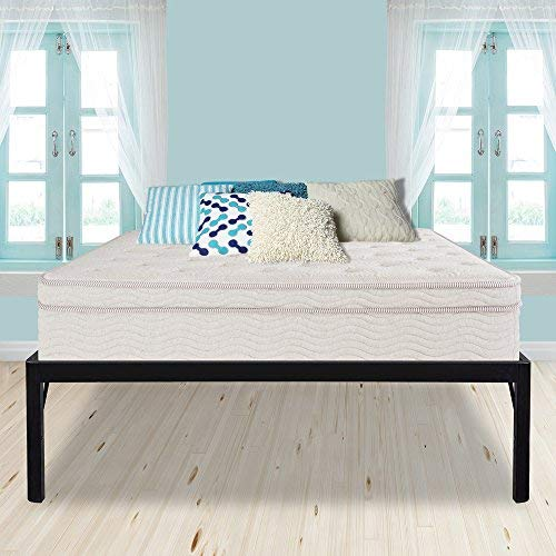 PrimaSleep 18 Inch High Extra Support/ Heavy Duty Steel Slat Bed Frame/ Anti-slip/ Easy Assembly/ Noise Free/ No Box Spring Needed, Black ,Twin