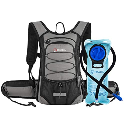 - MIRACOL Hydration Backpack with 2L Water Bladder, Thermal Insulation Pack Keeps Liquid Cool up to 4 Hours, Prefect Outdoor Gear for Skiing, Running, Hiking, Cycling (Light Grey)