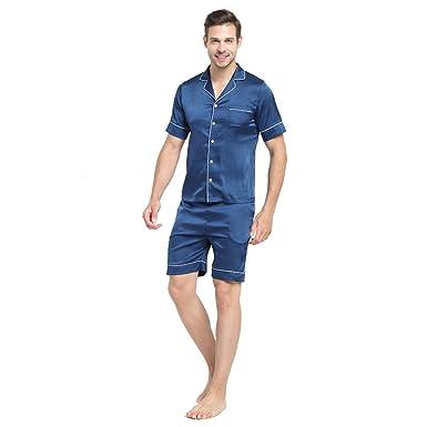 7 VEILS Mens 2-Piece Woven Faux Silk Short Sleeve Sleepwear Pajama Sets-Navy