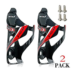 Wiel Full Carbon Fiber Bicycle Bike Light Drink Water Bottle Cage Holder (2Pcs Black)