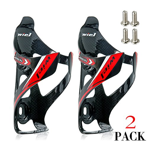 Wiel Full Carbon Fiber Bicycle Bike Light Drink Water Bottle Cage Holder (2Pcs Black) (Bottle Cage Water)