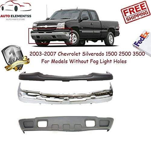 2003-2007 Silverado 1500 2500 3500 Chrome Lower Valance & Upper Textured W/o Fog Light Holes W/Tow Hook Holes W/o Bracket W/License Plate Hole Gm1002416 Gm1051110 Gm1092205 ()
