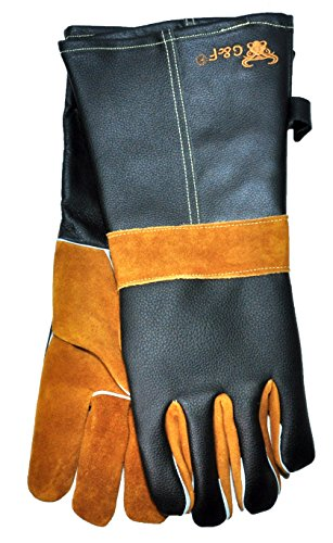 G & F 8115 Heat Resistant Leather Gloves, 15-Inch Extra Long Cuff, Premium Cowhide Grain Leather, Barbecue, Fireplace, Grill and BBQ Gloves