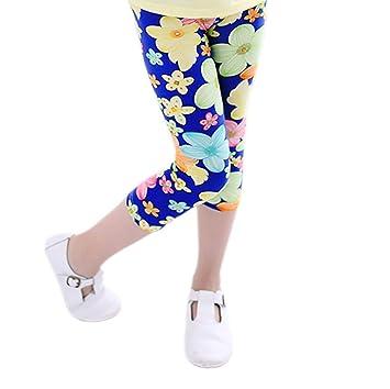 Kid Girls Pants Printing Flower Toddler Kids Classic Leggings 2-13Y - Capri pants (