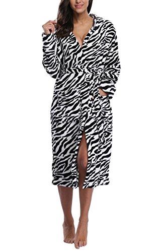 - VIKEY Women's Fleece Hooded Robe,Long Bathrobe With Print