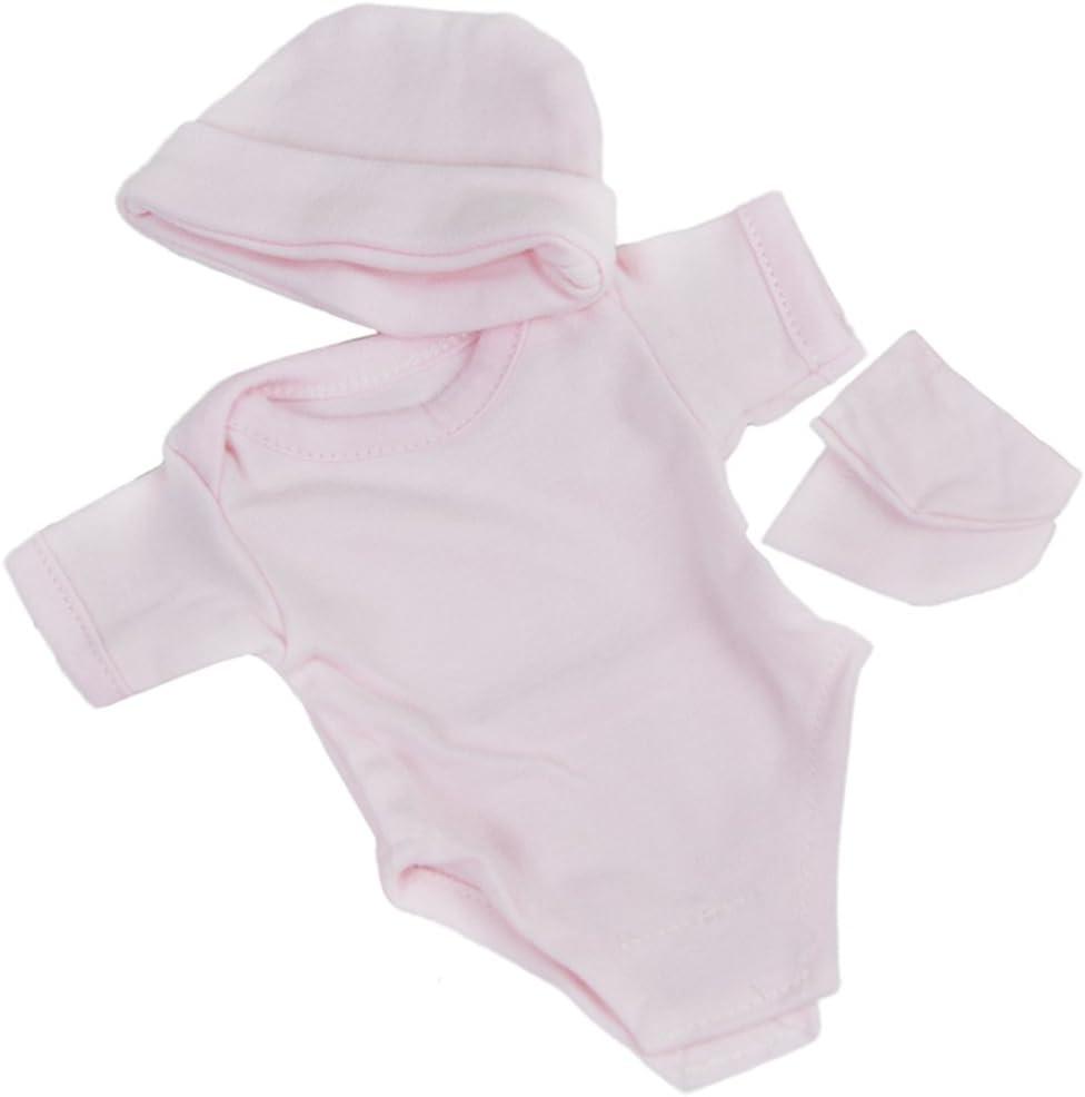 Fit 10-11 Reborn Baby Girl Dolls Clothes Pink Romper Socks Hat Set