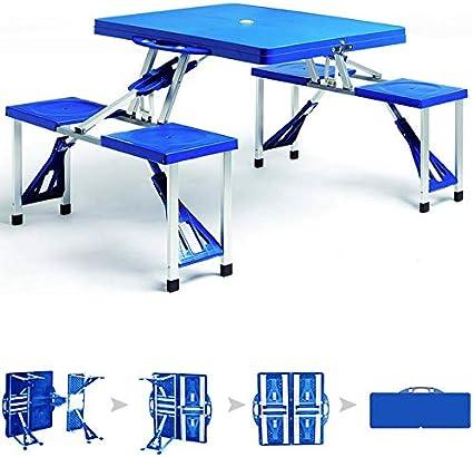Deuba Mesa Plegable de Camping con 4 sillas portátil Espacio para sombrilla Azul pícnic Camping Exterior 137x85x65cm