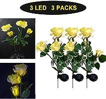 Solar yellow rose flower light 3 leds warm white