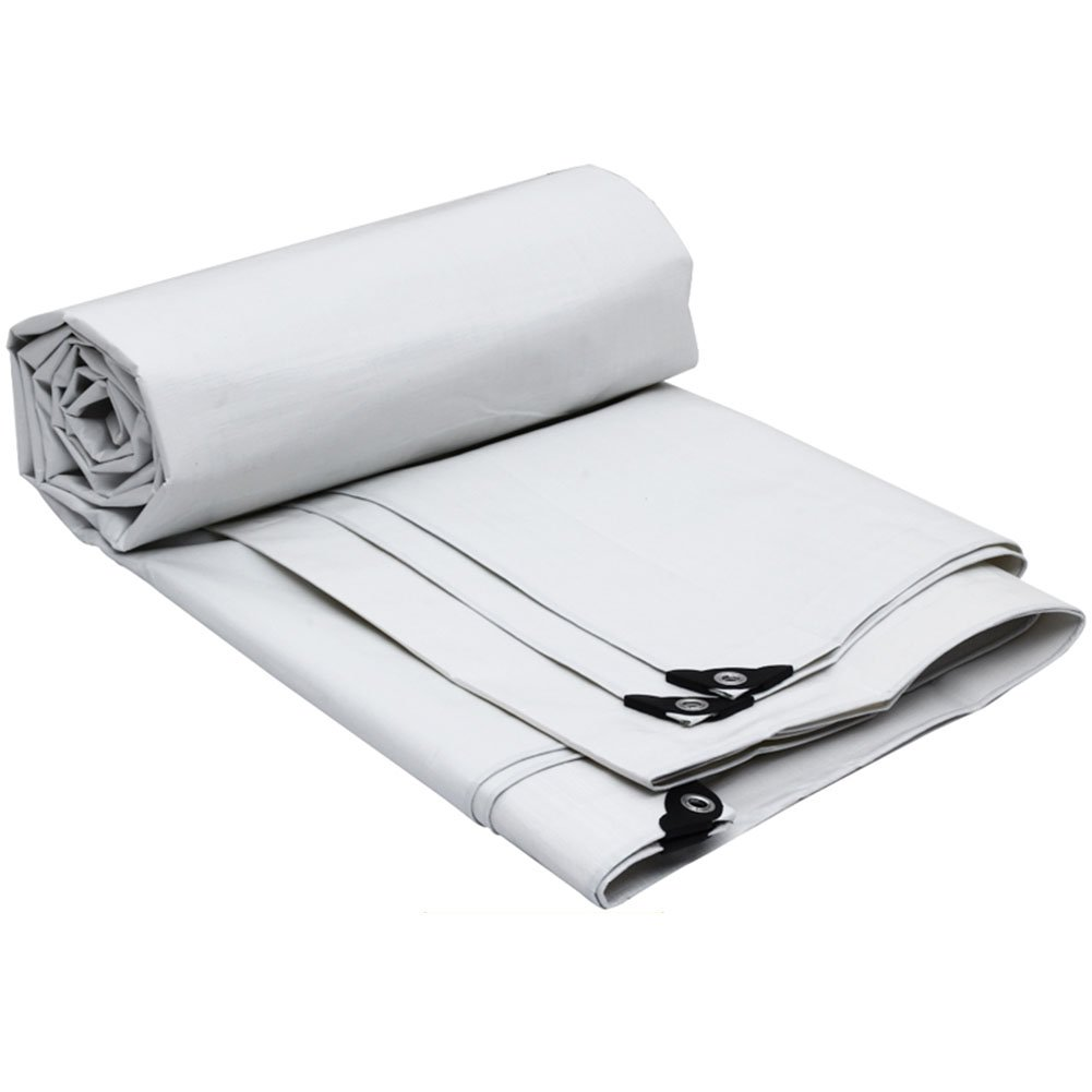 ZHANWEI ターポリンタープ Tarp テント タープ 厚い防水布オーニング 雨篷 厚い プラスチック オーニング 耐寒性 日焼け止め リノリウム ポリエチレン トラック 車 シェード 屋外 (色 : 白, サイズ さいず : 9.8×5.8M) B07FZ2CTFL 9.8×5.8M|白 白 9.8×5.8M