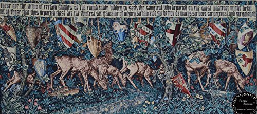 Verdure Tapestry Rug - Quest for the Holy Grail Tapestries-verdure with Deer & Shields 55