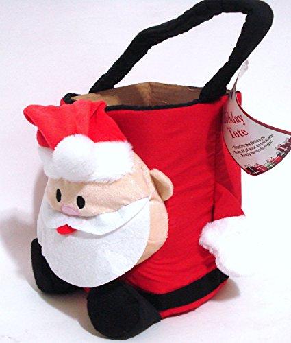 Let It Snow Plush Santa Holiday Tote Basket Stocking Handbag K Mart Christmas Decorations