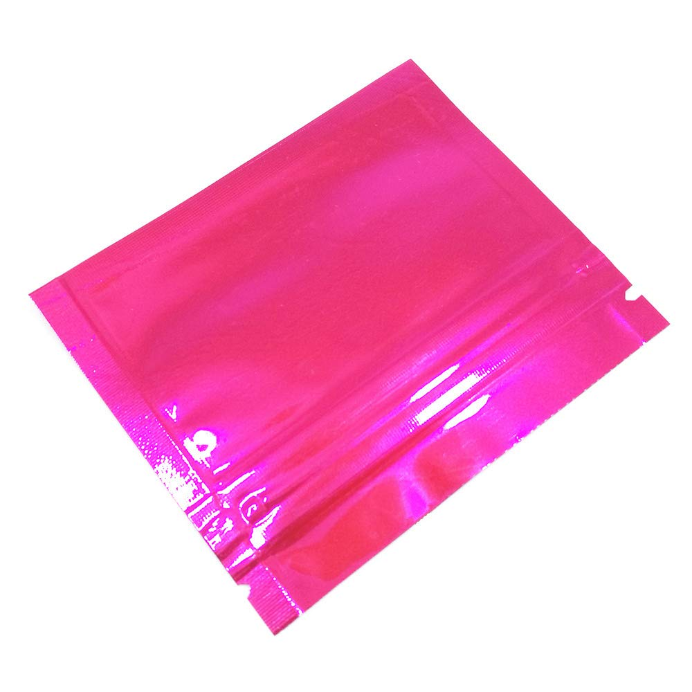 3.5mil Mylar Foil Heat Seal Resealable Pouches Smell Proof Aluminum Foil Bags Cosmetic Makeup Sample Plastic Beef Jerky Tea Spice Food Storage Bags Flat Ziplock (7.5x6cm (3''x2.4''), Pink)