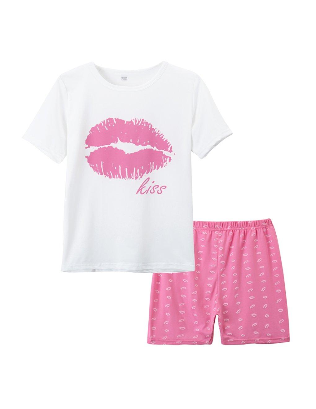 VENTELAN Summer Pajamas Set for Big Girls Cute Pink Lips Sleepwear Size 7-16