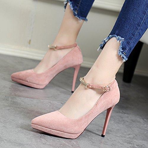 Word Sharp Shoes Heels MDRW Head Lady Leisure Elegant Suede Sexy 10Cm 38 One Pink Shoes Buckle Spring Heel Work Fine Single Women'S Fashion zwnqXxUAw