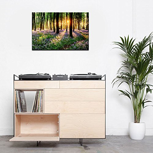 Lavender Canvas Wall Art with Wood Frame Forest in Sunshine Canvas Print Wall Decor Wall Canvas Landscapes Home Decoration Ready to Hang by Sea Charm (Image #1)