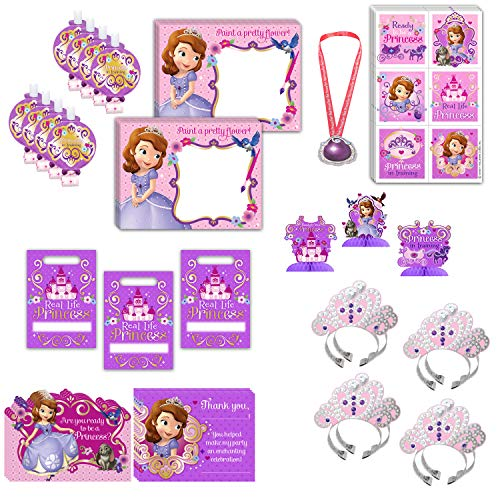Sofia The First Birthday Party Favors Bundle - 8 Guest - Centerpieces, Water Paint Boards, Favor Bags, Headbands, Blowouts, Stickers, Invites, Thank you cards, Amulet of Avalor ()