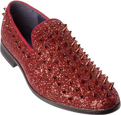 sparko16 Mens Slip-On Fashion-Loafer Sparkling-Glitter Wine