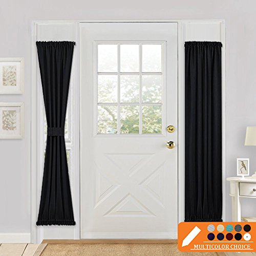 Blackout French Door Curtain Panel - PONY DANCE Solid Rod Pocket Window Treatment Door Panel for Side French Door Including Bonus Tieback,25 x 72 inches,Black,One Panel