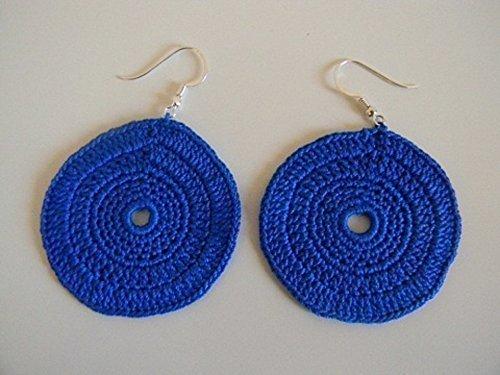Orecchini Uncinetto Cerchio Colore Blu Amazonit Handmade