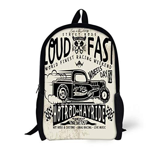 - Pinbeam Backpack Travel Daypack Truck Hotrods Car Old School Vintage Race Hot Waterproof School Bag