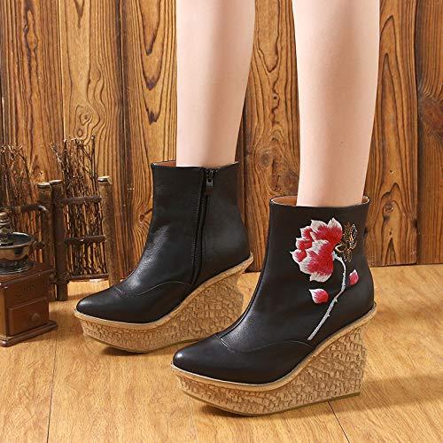 Gaslinyuan Frauen-Stickerei-Stiefel-Leder-Knöchel-Blumen-Reißverschluss Wedge Heel Schuhes (Farbe : : : Schwarz, Größe : EU 40) - e30094