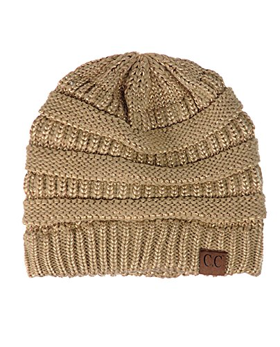 ky Soft Stretch Cable Knit Beanie Skully, Metallic Gold ()
