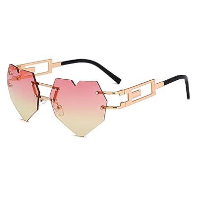 Juleya Femme Homme mignon Rimless amour coeur en forme de lunettes de soleil en métal cadre