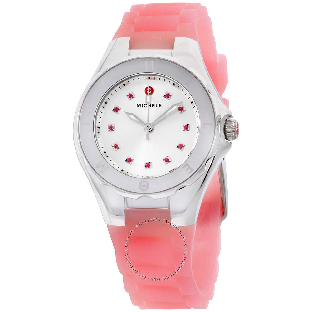 MICHELE Women s MWW12P000008 Jellybean Stainless Steel Watch with Pink Topaz Stones