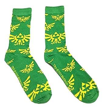 Nintendo Legend of Zelda Triforce Logo Green & Yellow Crew Socks