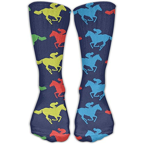 ETcRe Men&Women's Colorful Horse Racing Fashion Crew Sock Athletic Ankle Dress Sock One Size