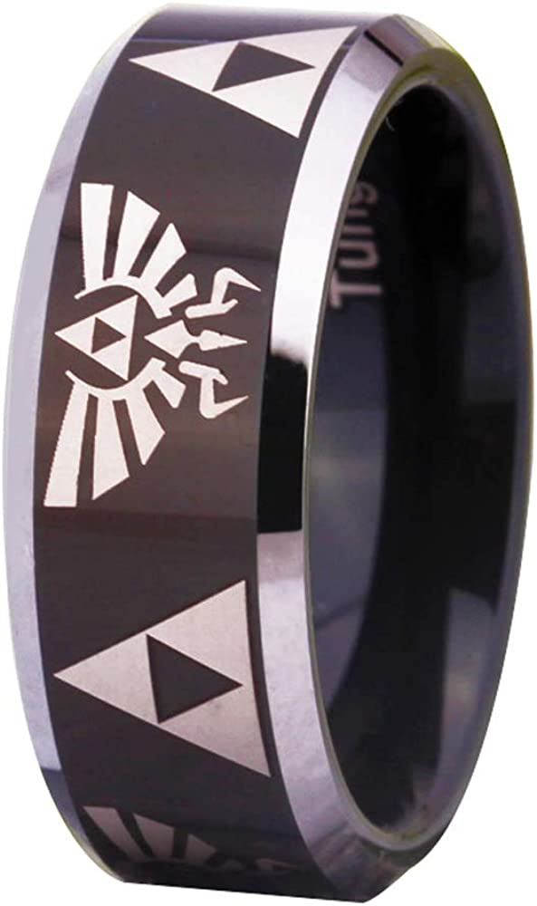 Cloud Dancer Free Custom Engraving The Legend of Zelda Ring- Crest and Triforce Ring Black Tungsten Carbide Wedding Bands Ring
