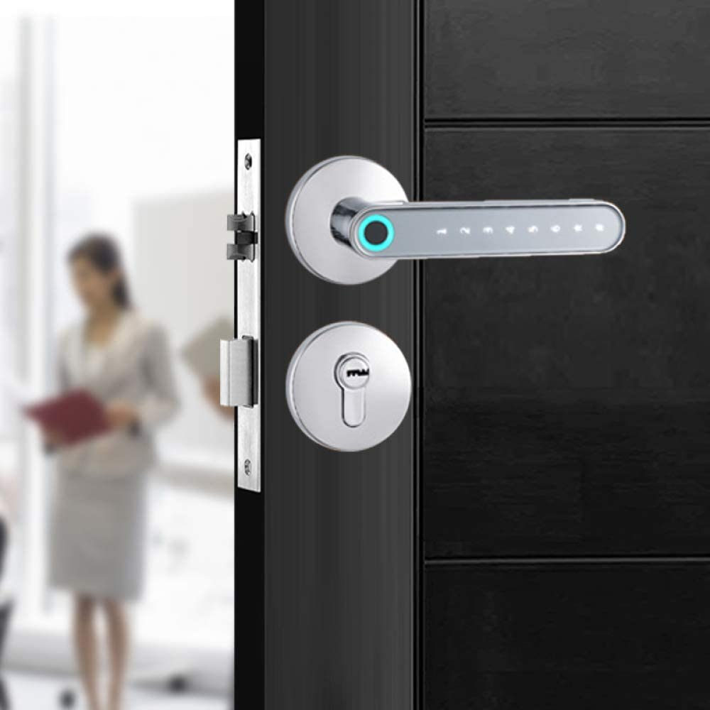 Zinc Alloy Bluetooth APP Remote Control Fingerprint Password Lock Electric biometric Door Lock