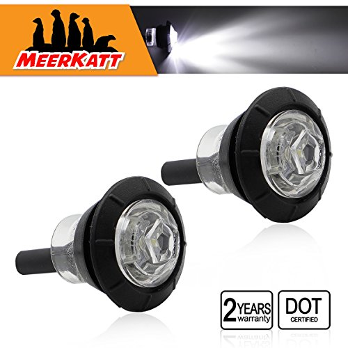 (Pack of 2) Meerkatt Special Generation 3/4 inch Round White LED Mini Button Clearance Lamps Side SMD Marker Indicators Lights Black Rubber Grommets Trailer Boat RV Truck Small Bullet Universal (White Rubber Button)