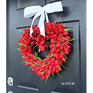 Elegant Holidays Handmade Red Tulip Heart Shaped Wreath with Bow, Valentine's Day Wreath- Front DoorDecor for Outdoor Indoor Home Wall Accent Décor- Great for Valentine's Day, All Seasons, Year Round 10