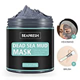 Natural Dead Sea Mud Mask - Headband & Brush included for Face and Body Cleansing Relaxing Detox Treatment Reduce Pores, Purifying Face Mask for Acne, Blackheads, Oily Skin