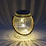 Lightshare TYNFG Ribbed Solar Jar with Warm White Lights, 6-Inch, Clear