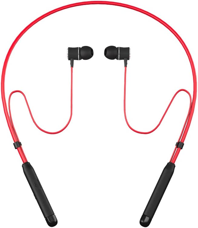 Bluetooth Headphones Behind-Neck,SOWND Magnetic Bluetooth 4.2 Earbuds Stereo Earphones with Mic Sweatproof Noise Canceling for Sports Gym Workout - Red
