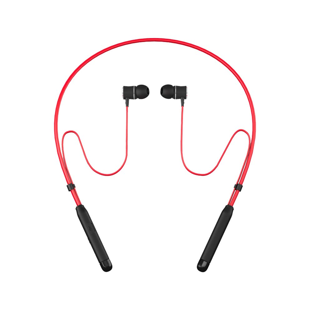 Bluetooth Headphones Behind-Neck,SOWND Magnetic Bluetooth 4.2 Earbuds Stereo Earphones with Mic Sweatproof Noise Canceling for Sports Gym Workout – Red