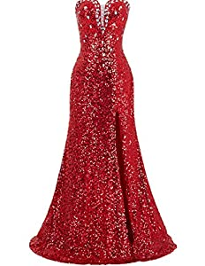 Grace Karin Women's Strapless Sequins Split Ball Gown Evening Prom Party Dress Red