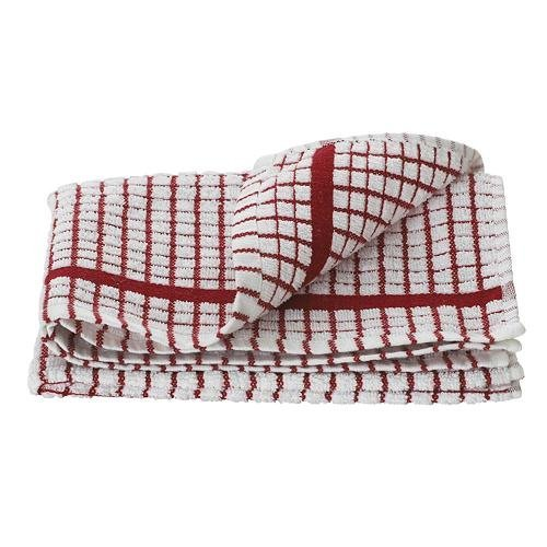 1 Dozen Original Lamont Poli-Check Tea Towel Kitchen Dish Towels Poli Dri, 12 Pack (Red) by Lamont