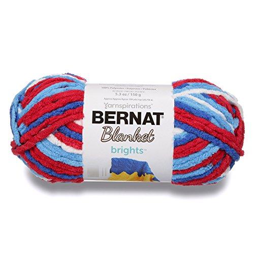 Blooms Stripe - Bernat Blanket Bright Yarn, Red, White & Bloom