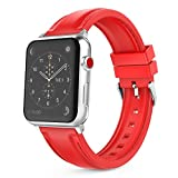MoKo Band for Apple Watch Series 3 Bands, Soft Silicone Replacement Sports Band with Stitching for iWatch 38mm 2017 series 3 / 2 / 1, RED (Not fit 42mm Versions)
