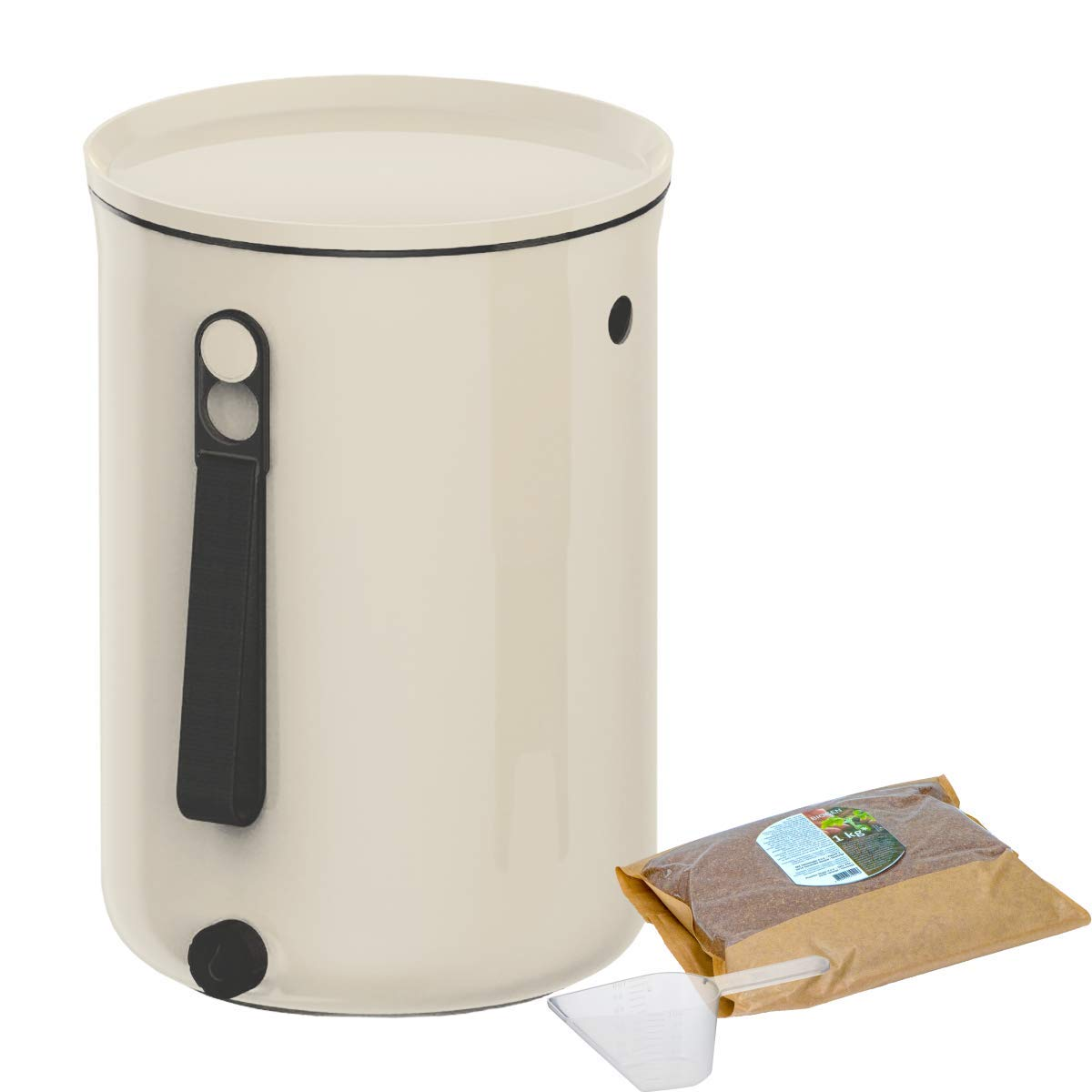 Skaza Bokashi Organko 2 (9.6 L) Award-winning Kitchen Composter made from Recycled Plastic | Starter set for kitchen waste and composting | with fermentation activator 1 kg (Cream-White)